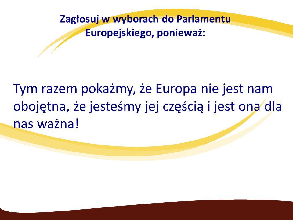 Zagłosuj w wyborach do Parlamentu Europejskiego, ponieważ: Tym razem pokażmy, że Europa nie jest nam obojętna, że jesteśmy jej częścią i jest ona dla nas ważna!