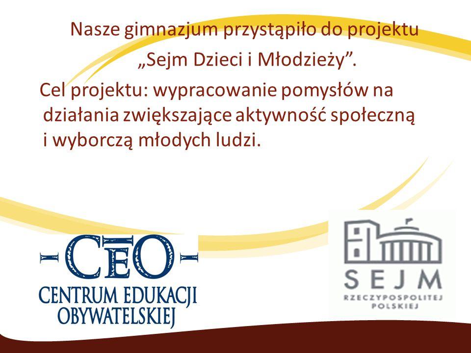 """Nasze gimnazjum przystąpiło do projektu """"Sejm Dzieci i Młodzieży ."""