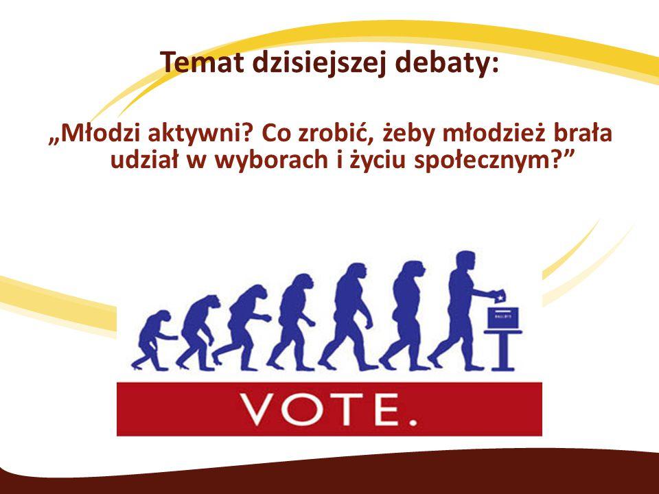 """Temat dzisiejszej debaty: """"Młodzi aktywni? Co zrobić, żeby młodzież brała udział w wyborach i życiu społecznym?"""""""
