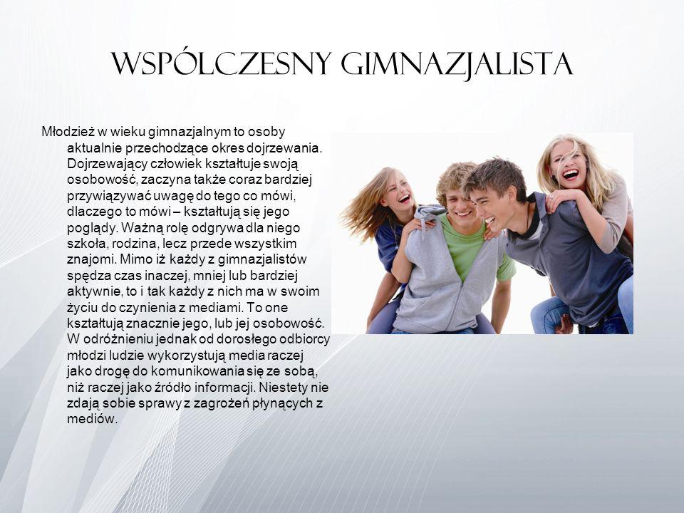 Wspólczesny Gimnazjalista Młodzież w wieku gimnazjalnym to osoby aktualnie przechodzące okres dojrzewania. Dojrzewający człowiek kształtuje swoją osob
