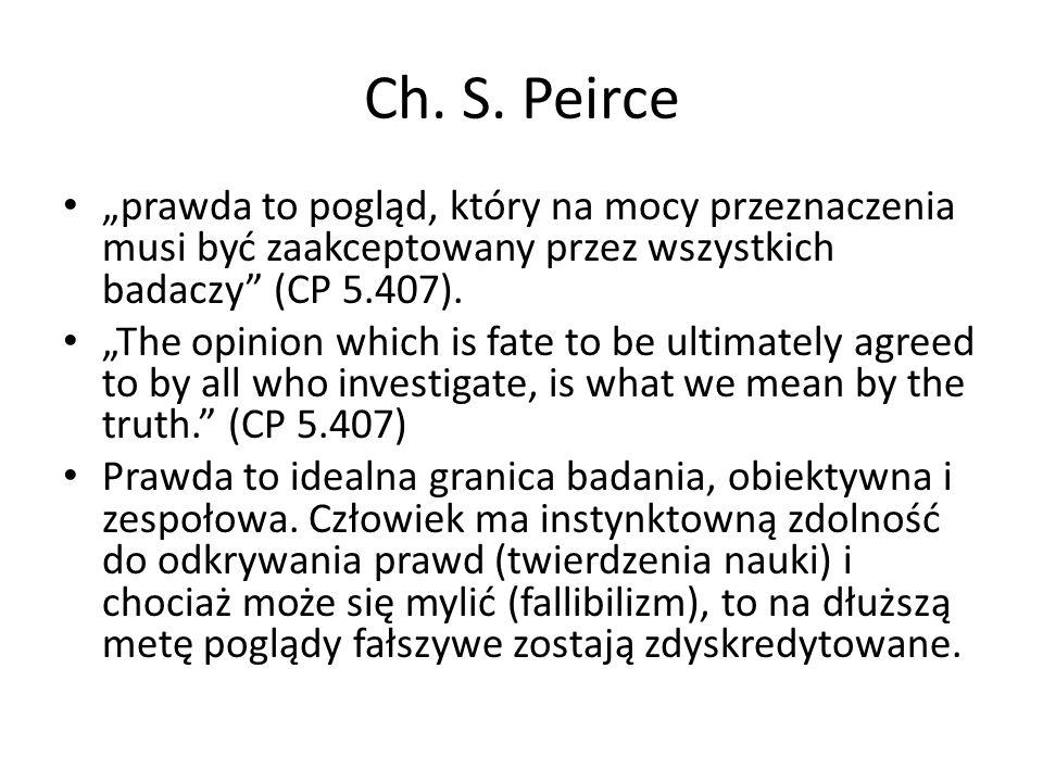 """Ch. S. Peirce """"prawda to pogląd, który na mocy przeznaczenia musi być zaakceptowany przez wszystkich badaczy"""" (CP 5.407). """"The opinion which is fate t"""
