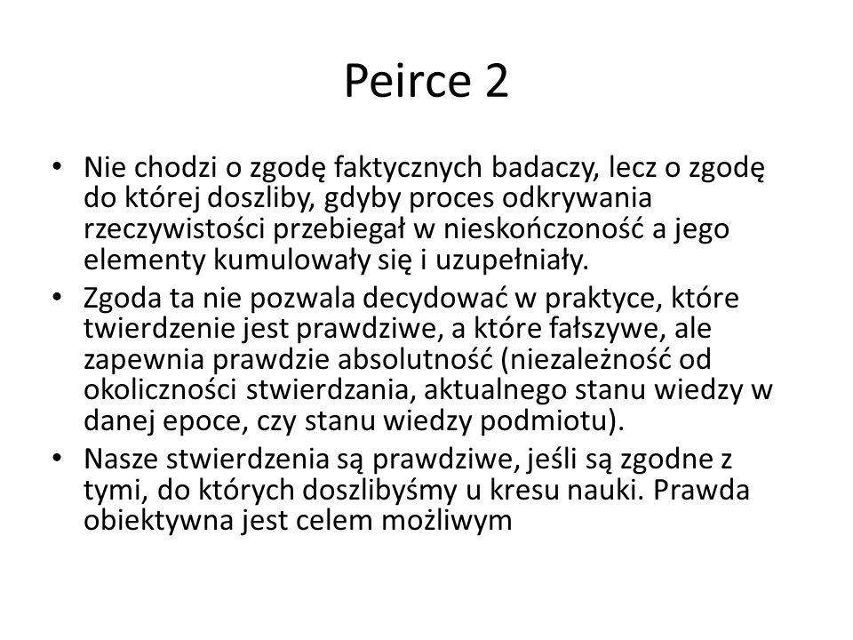 Peirce 2 Nie chodzi o zgodę faktycznych badaczy, lecz o zgodę do której doszliby, gdyby proces odkrywania rzeczywistości przebiegał w nieskończoność a jego elementy kumulowały się i uzupełniały.