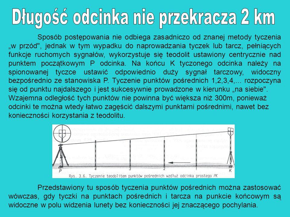 Do tyczenia odcinków prostych trasy, których długość przekracza 2 km, stosowana jest konstrukcja pokazana na rys.