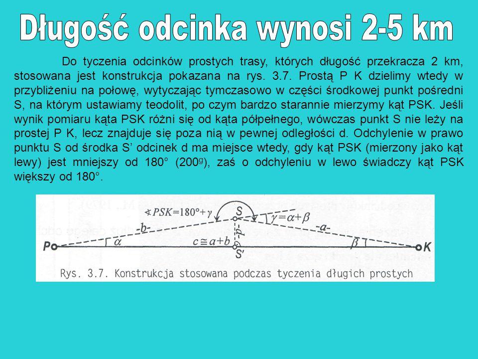 Do tyczenia odcinków prostych trasy, których długość przekracza 2 km, stosowana jest konstrukcja pokazana na rys. 3.7. Prostą P K dzielimy wtedy w prz