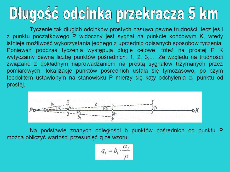 Tyczenie tak długich odcinków prostych nasuwa pewne trudności, lecz jeśli z punktu początkowego P widoczny jest sygnał na punkcie końcowym K, wtedy is