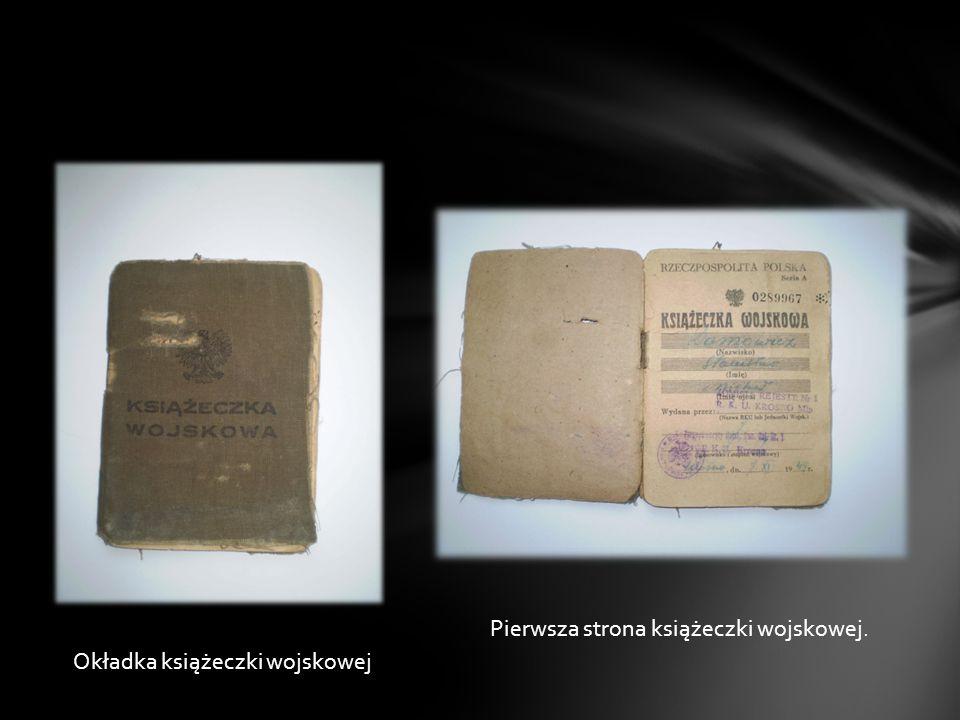 Okładka książeczki wojskowej Pierwsza strona książeczki wojskowej.