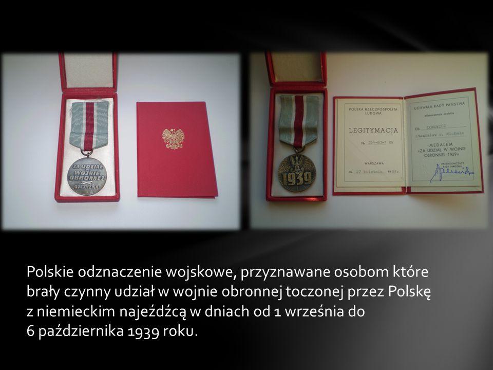 Polskie odznaczenie wojskowe, przyznawane osobom które brały czynny udział w wojnie obronnej toczonej przez Polskę z niemieckim najeźdźcą w dniach od