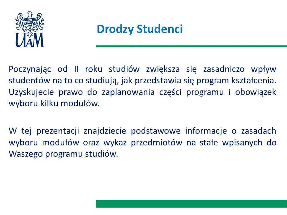 Drodzy Studenci Poczynając od II roku studiów zwiększa się zasadniczo wpływ studentów na to co studiują, jak przedstawia się program kształcenia.