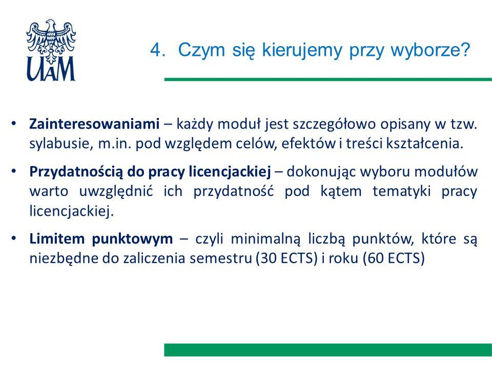 4.Czym się kierujemy przy wyborze? Zainteresowaniami – każdy moduł jest szczegółowo opisany w tzw. sylabusie, m.in. pod względem celów, efektów i treś