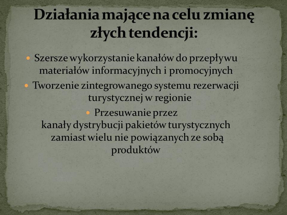 Szersze wykorzystanie kanałów do przepływu materiałów informacyjnych i promocyjnych Tworzenie zintegrowanego systemu rezerwacji turystycznej w regioni