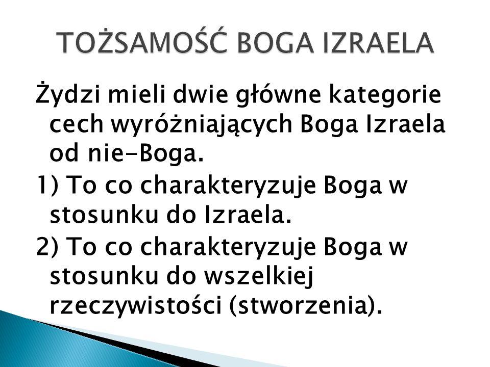 Żydzi mieli dwie główne kategorie cech wyróżniających Boga Izraela od nie-Boga. 1) To co charakteryzuje Boga w stosunku do Izraela. 2) To co charakter