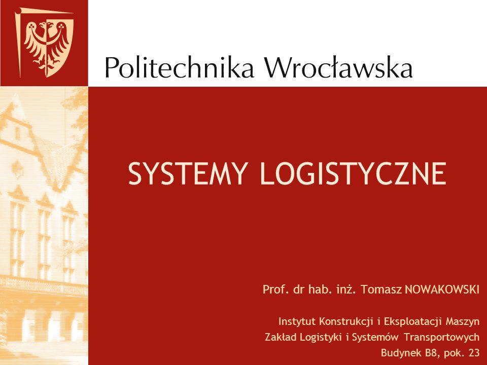 SYSTEMY LOGISTYCZNE Prof. dr hab. inż. Tomasz NOWAKOWSKI Instytut Konstrukcji i Eksploatacji Maszyn Zakład Logistyki i Systemów Transportowych Budynek