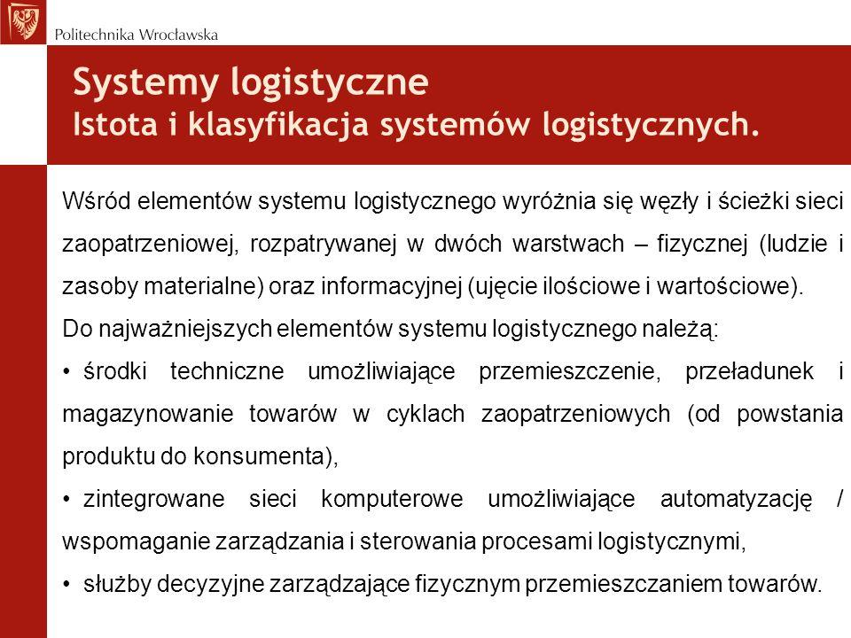 Systemy logistyczne Istota i klasyfikacja systemów logistycznych. Wśród elementów systemu logistycznego wyróżnia się węzły i ścieżki sieci zaopatrzeni