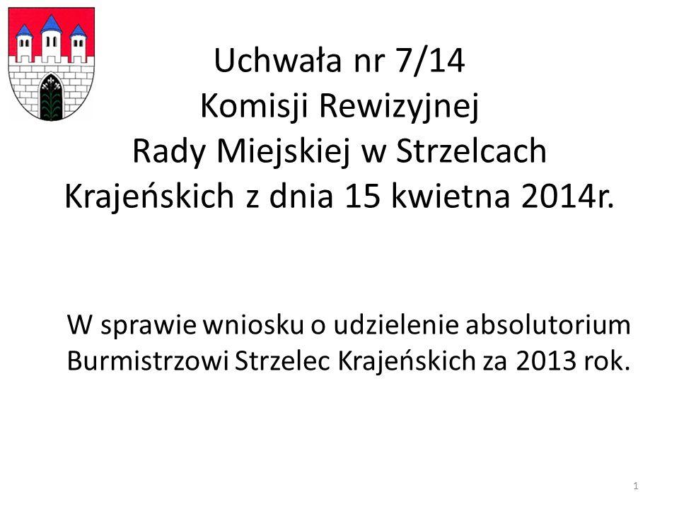 Uchwała nr 7/14 Komisji Rewizyjnej Rady Miejskiej w Strzelcach Krajeńskich z dnia 15 kwietna 2014r.