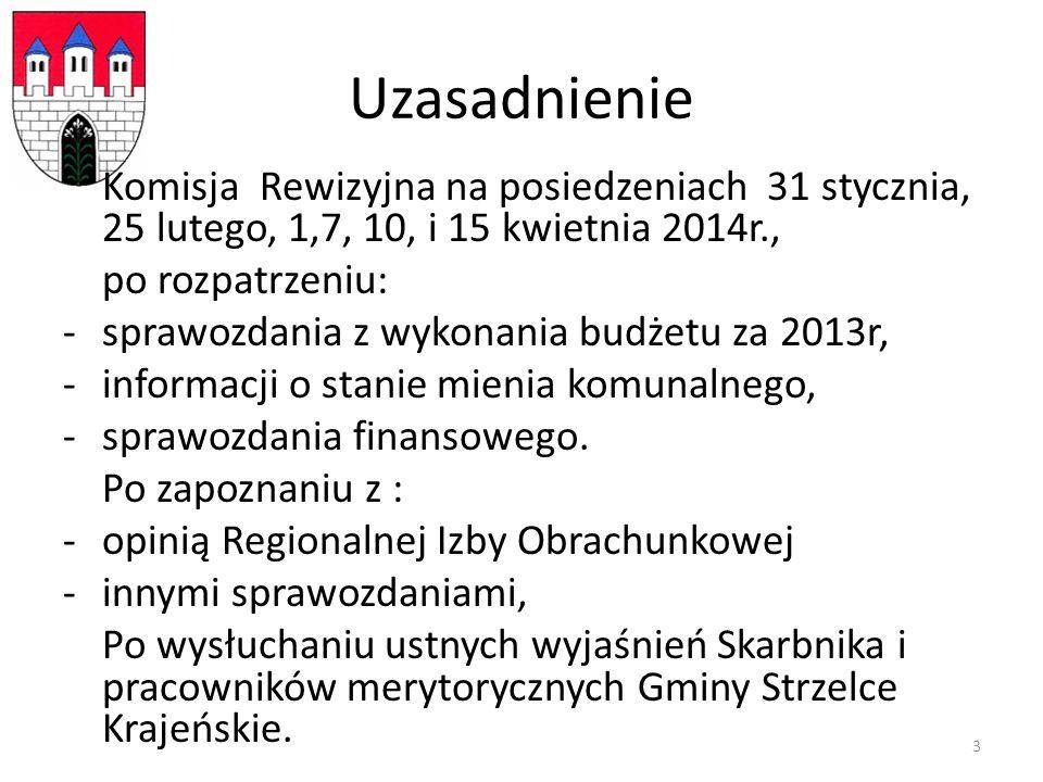 Uzasadnienie Komisja Rewizyjna na posiedzeniach 31 stycznia, 25 lutego, 1,7, 10, i 15 kwietnia 2014r., po rozpatrzeniu: -sprawozdania z wykonania budżetu za 2013r, -informacji o stanie mienia komunalnego, -sprawozdania finansowego.