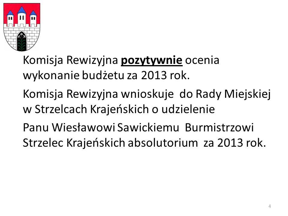 Komisja Rewizyjna pozytywnie ocenia wykonanie budżetu za 2013 rok.