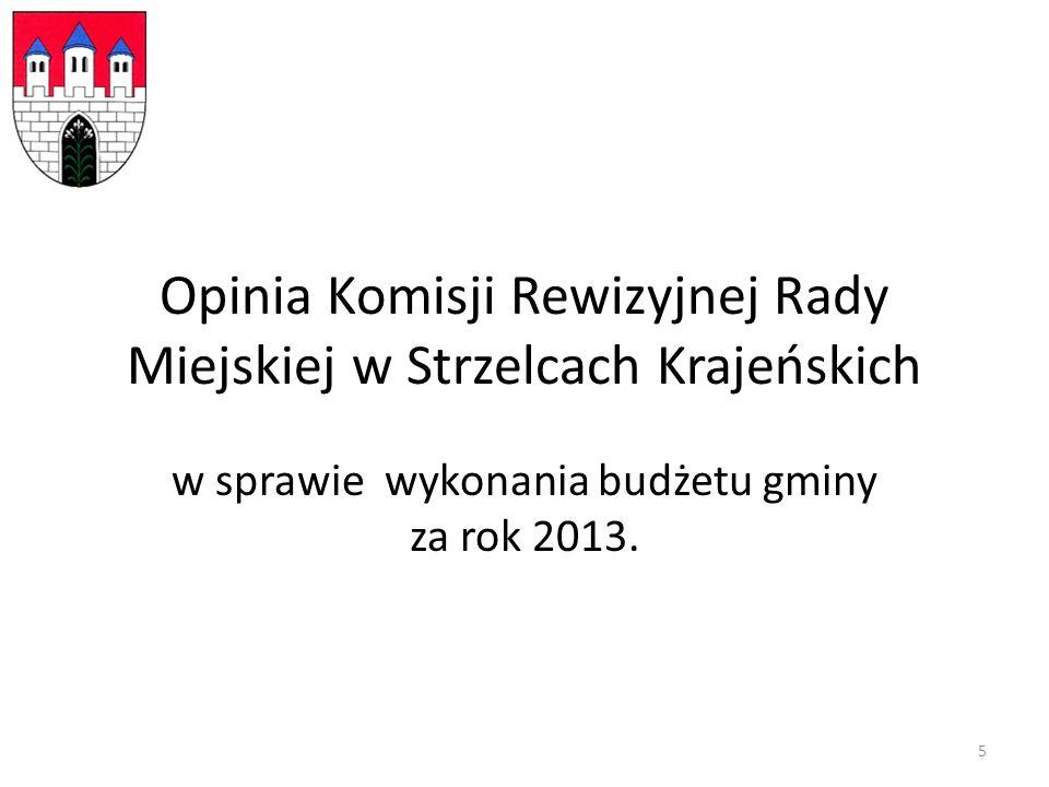 Opinia Komisji Rewizyjnej Rady Miejskiej w Strzelcach Krajeńskich w sprawie wykonania budżetu gminy za rok 2013.