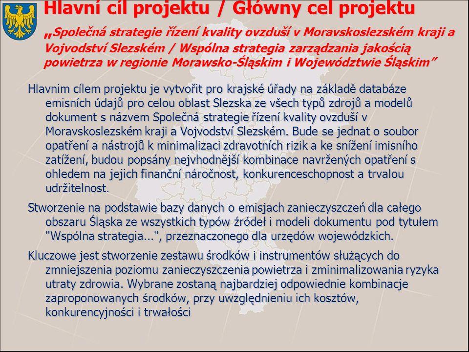 Hlavnim cílem projektu je vytvořit pro krajské úřady na základě databáze emisních údajů pro celou oblast Slezska ze všech typů zdrojů a modelů dokument s názvem Společná strategie řízení kvality ovzduší v Moravskoslezském kraji a Vojvodství Slezském.