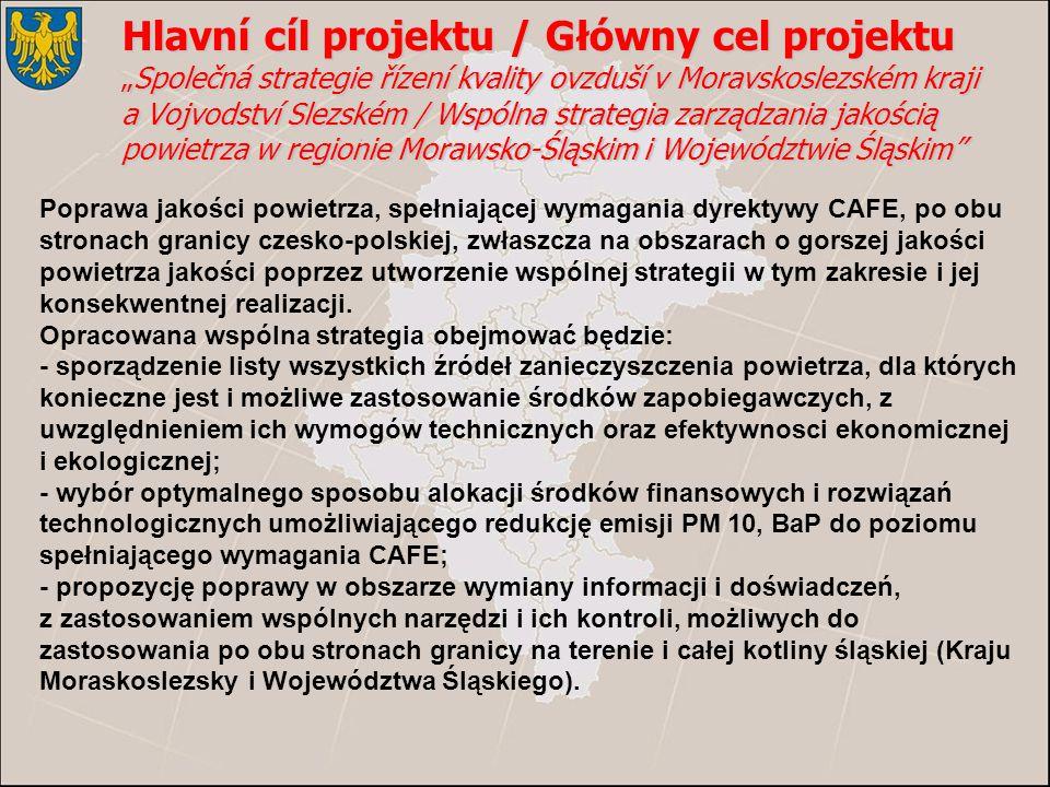 Poprawa jakości powietrza, spełniającej wymagania dyrektywy CAFE, po obu stronach granicy czesko-polskiej, zwłaszcza na obszarach o gorszej jakości powietrza jakości poprzez utworzenie wspólnej strategii w tym zakresie i jej konsekwentnej realizacji.