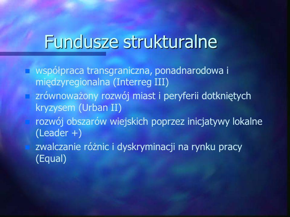 Fundusze strukturalne n n współpraca transgraniczna, ponadnarodowa i międzyregionalna (Interreg III) n n zrównoważony rozwój miast i peryferii dotknię