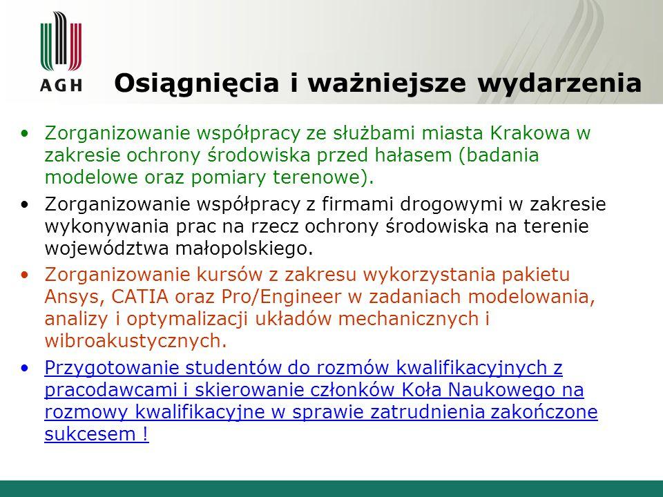 Osiągnięcia i ważniejsze wydarzenia Zorganizowanie współpracy ze służbami miasta Krakowa w zakresie ochrony środowiska przed hałasem (badania modelowe