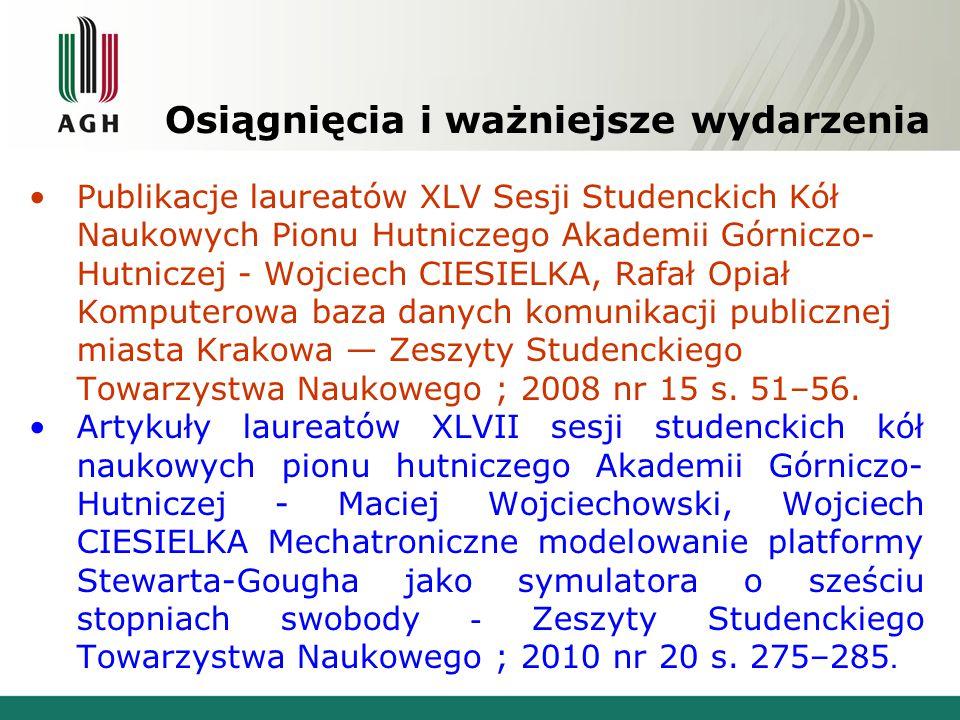 Osiągnięcia i ważniejsze wydarzenia Publikacje laureatów XLV Sesji Studenckich Kół Naukowych Pionu Hutniczego Akademii Górniczo- Hutniczej - Wojciech