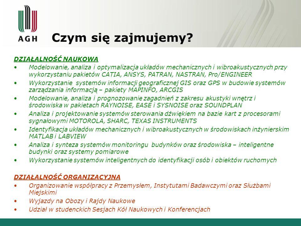 Osiągnięcia i ważniejsze wydarzenia Zorganizowanie współpracy ze służbami miasta Krakowa w zakresie ochrony środowiska przed hałasem (badania modelowe oraz pomiary terenowe).