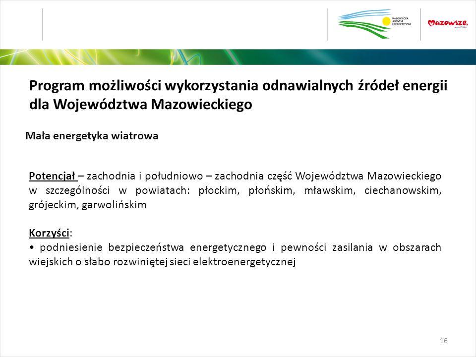 Program możliwości wykorzystania odnawialnych źródeł energii dla Województwa Mazowieckiego Potencjał – zachodnia i południowo – zachodnia część Wojewó