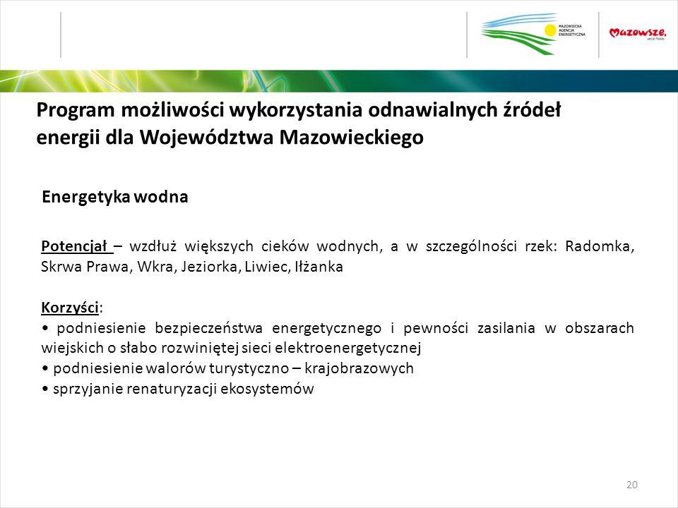 Program możliwości wykorzystania odnawialnych źródeł energii dla Województwa Mazowieckiego Potencjał – wzdłuż większych cieków wodnych, a w szczególno