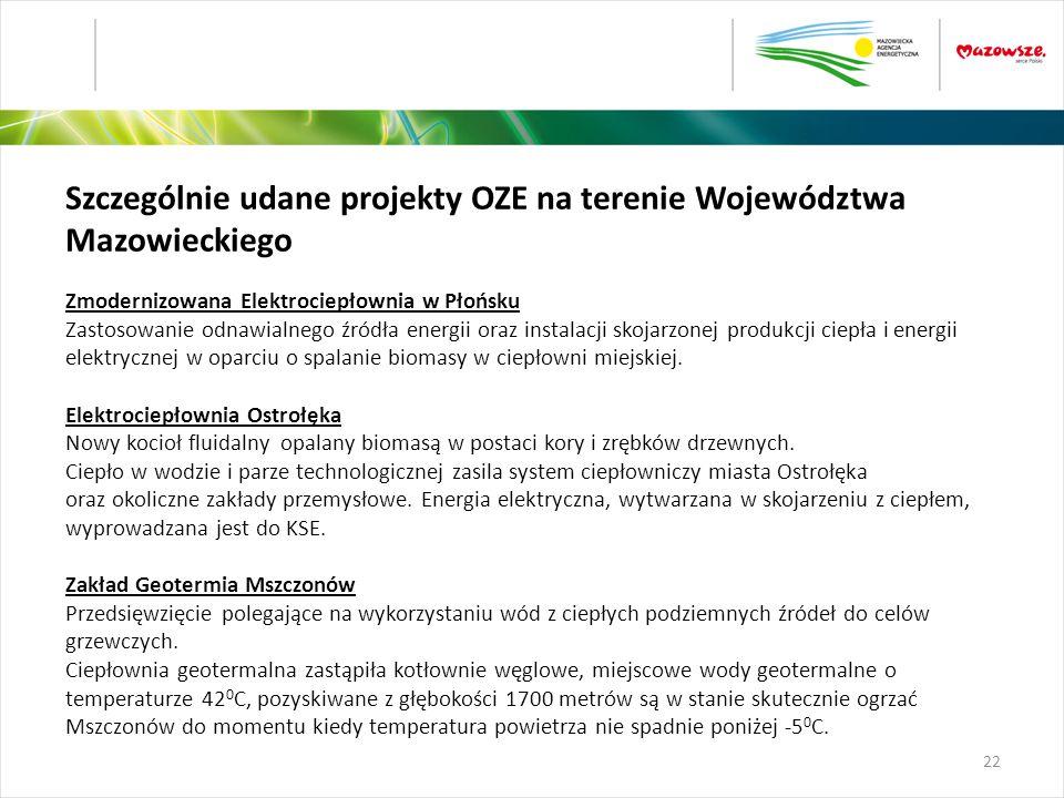 Szczególnie udane projekty OZE na terenie Województwa Mazowieckiego Zmodernizowana Elektrociepłownia w Płońsku Zastosowanie odnawialnego źródła energi
