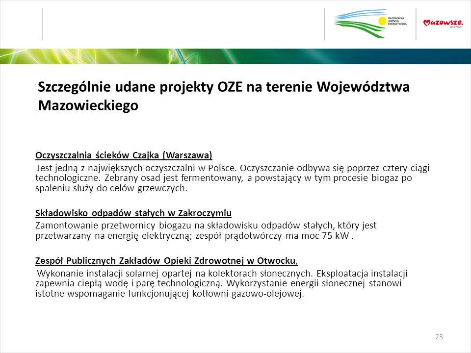 Szczególnie udane projekty OZE na terenie Województwa Mazowieckiego Oczyszczalnia ścieków Czajka (Warszawa) Jest jedną z największych oczyszczalni w P