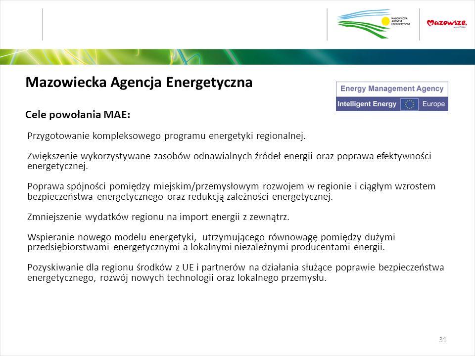 Mazowiecka Agencja Energetyczna Cele powołania MAE: Przygotowanie kompleksowego programu energetyki regionalnej. Zwiększenie wykorzystywane zasobów od