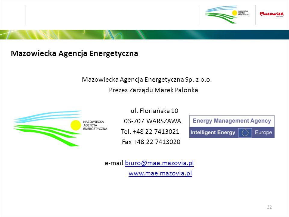 Mazowiecka Agencja Energetyczna Mazowiecka Agencja Energetyczna Sp. z o.o. Prezes Zarządu Marek Palonka ul. Floriańska 10 03-707 WARSZAWA Tel. +48 22