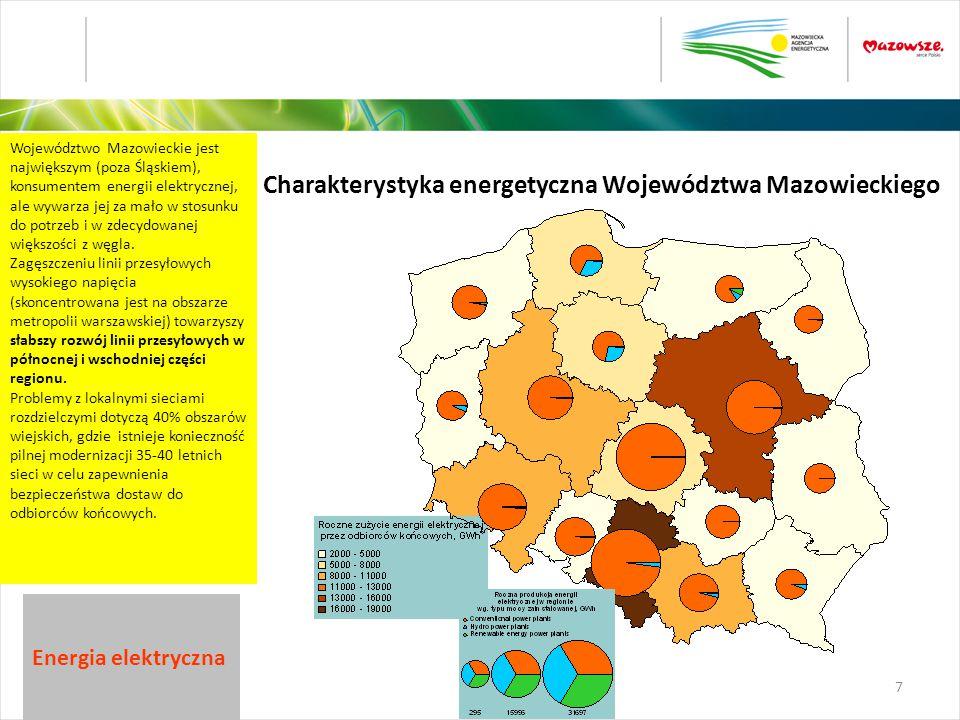 Województwo Mazowieckie jest największym (poza Śląskiem), konsumentem energii elektrycznej, ale wywarza jej za mało w stosunku do potrzeb i w zdecydow
