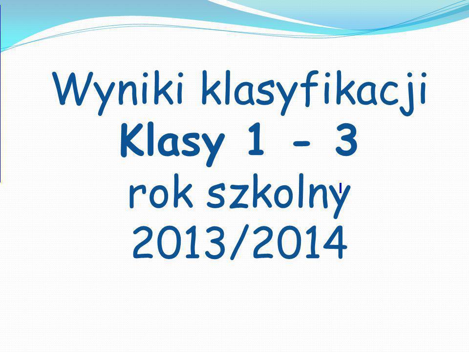 Wyniki klasyfikacji Klasy 1 - 3 rok szkolny 2013/2014