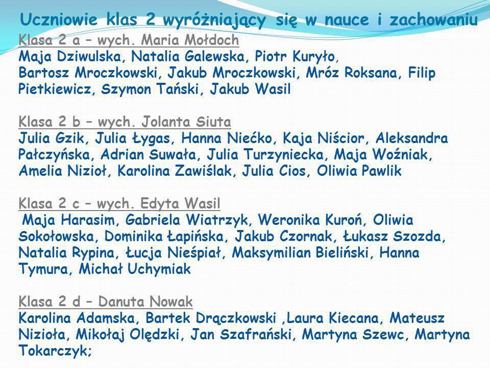 Uczniowie klas 2 wyróżniający się w nauce i zachowaniu Klasa 2 a – wych. Maria Mołdoch Maja Dziwulska, Natalia Galewska, Piotr Kuryło, Bartosz Mroczko