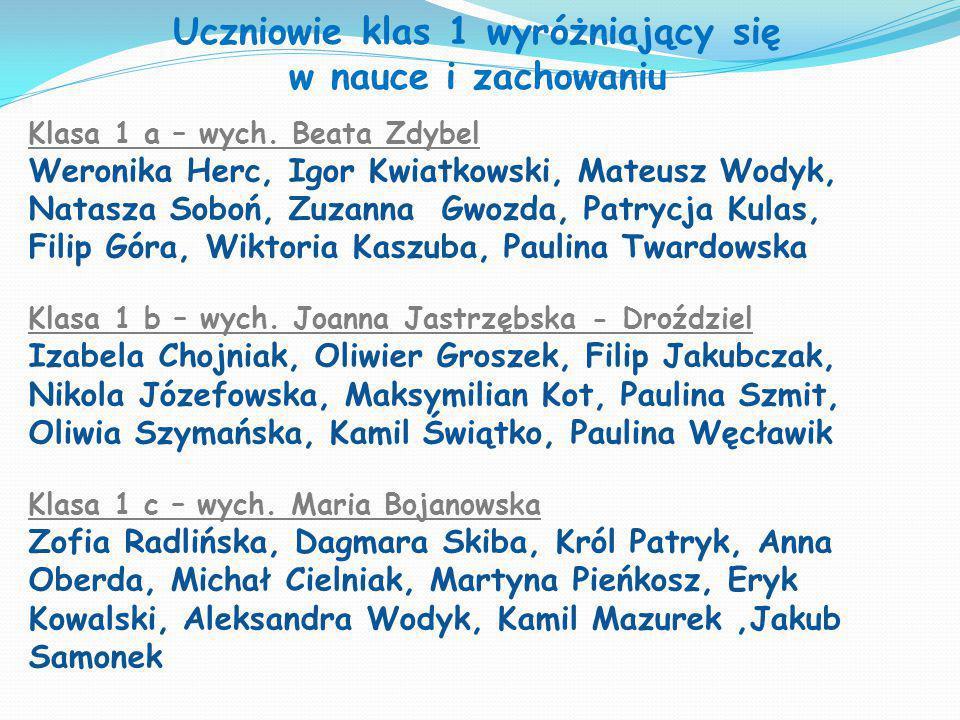 Uczniowie klas 1 wyróżniający się w nauce i zachowaniu Klasa 1 a – wych. Beata Zdybel Weronika Herc, Igor Kwiatkowski, Mateusz Wodyk, Natasza Soboń, Z