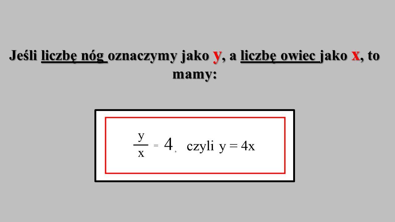 Wynik dzielenia liczby owczych nóg przez liczbę owiec za każdym razem jest taki sam, równy 4.