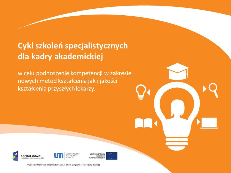 Cykl szkoleń specjalistycznych dla kadry akademickiej w celu podnoszenie kompetencji w zakresie nowych metod kształcenia jak i jakości kształcenia przyszłych lekarzy.