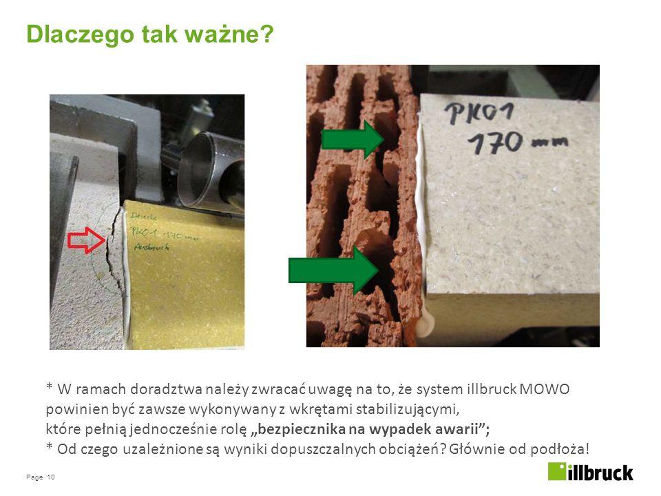 Page 10 Dlaczego tak ważne? * W ramach doradztwa należy zwracać uwagę na to, że system illbruck MOWO powinien być zawsze wykonywany z wkrętami stabili