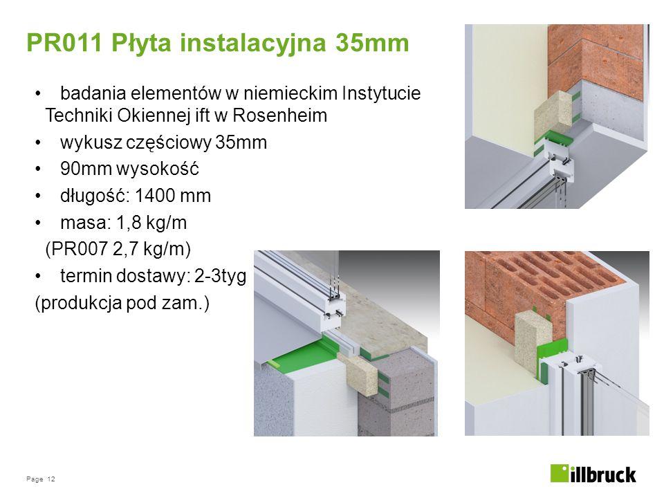Page 12 badania elementów w niemieckim Instytucie Techniki Okiennej ift w Rosenheim wykusz częściowy 35mm 90mm wysokość długość: 1400 mm masa: 1,8 kg/