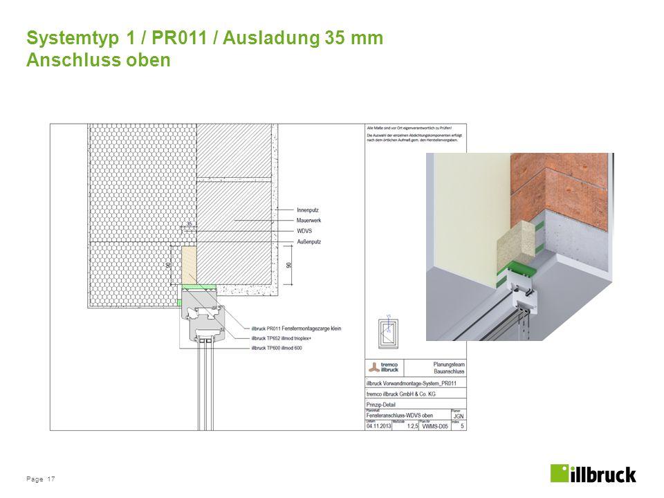 Page 17 Systemtyp 1 / PR011 / Ausladung 35 mm Anschluss oben