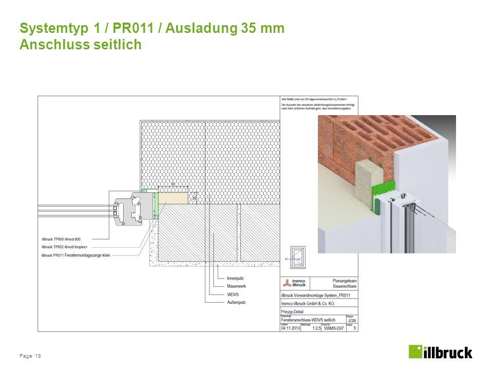 Page 18 Systemtyp 1 / PR011 / Ausladung 35 mm Anschluss seitlich