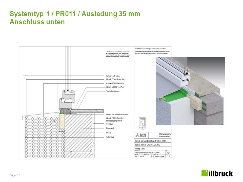 Page 19 Systemtyp 1 / PR011 / Ausladung 35 mm Anschluss unten