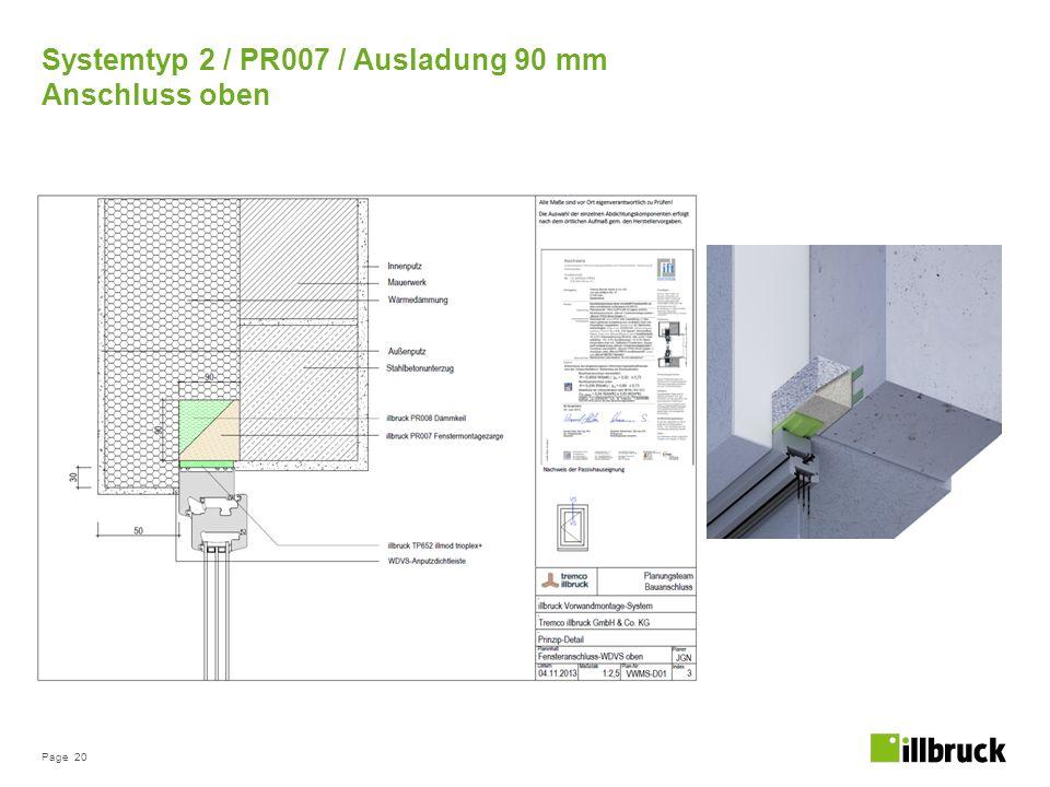 Page 20 Systemtyp 2 / PR007 / Ausladung 90 mm Anschluss oben