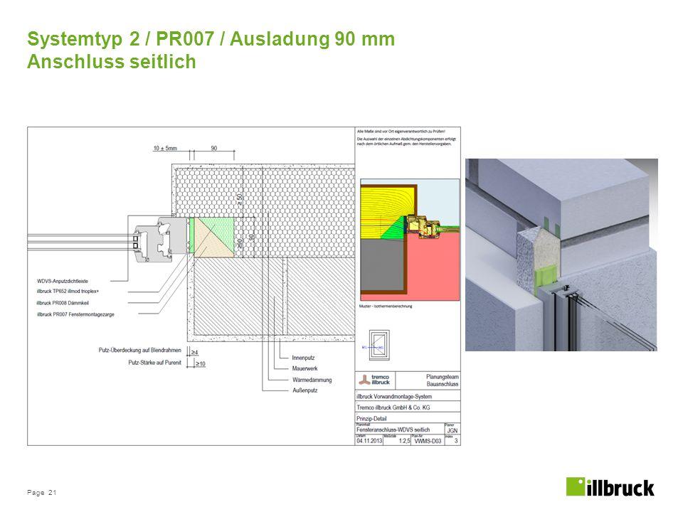 Page 21 Systemtyp 2 / PR007 / Ausladung 90 mm Anschluss seitlich
