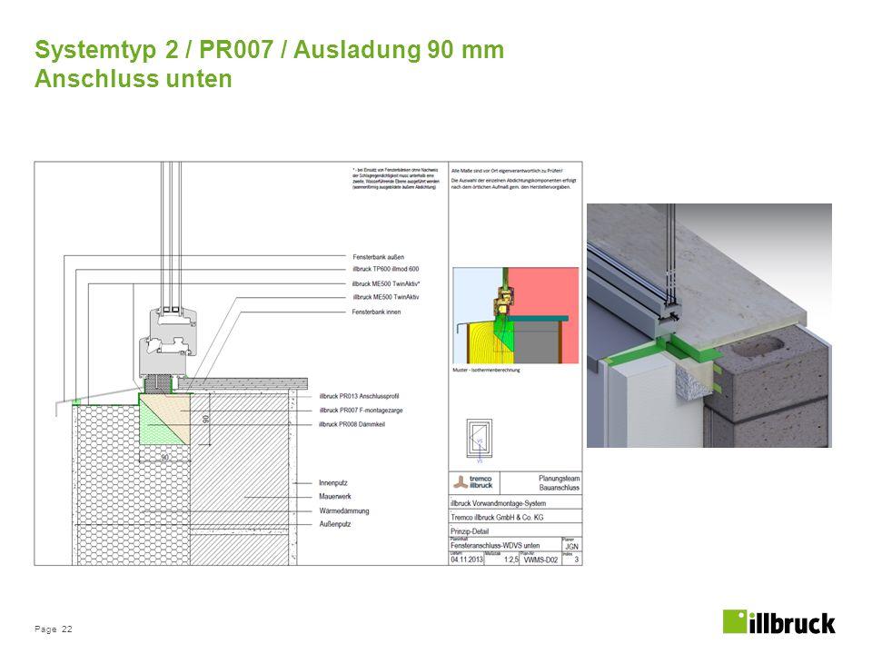 Page 22 Systemtyp 2 / PR007 / Ausladung 90 mm Anschluss unten