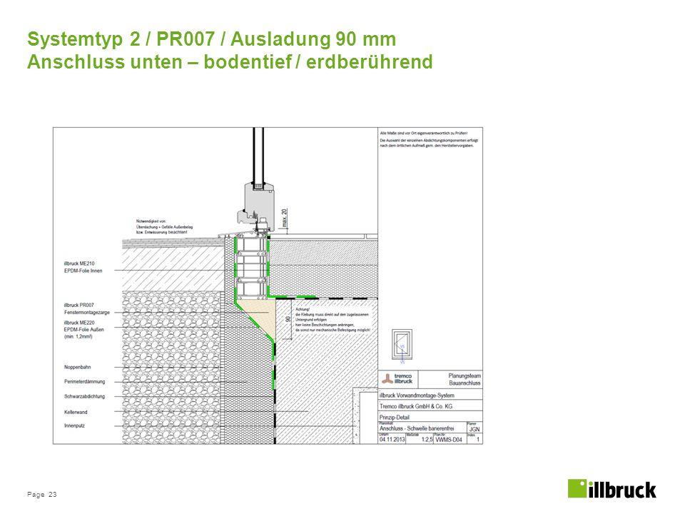 Page 23 Systemtyp 2 / PR007 / Ausladung 90 mm Anschluss unten – bodentief / erdberührend