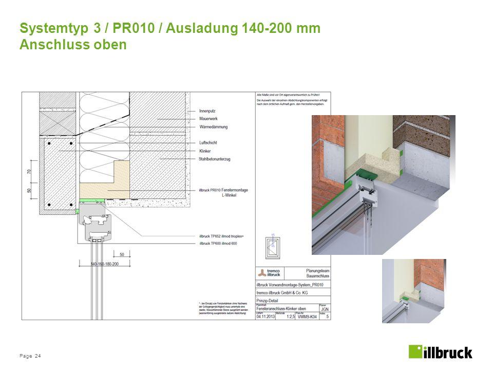Page 24 Systemtyp 3 / PR010 / Ausladung 140-200 mm Anschluss oben