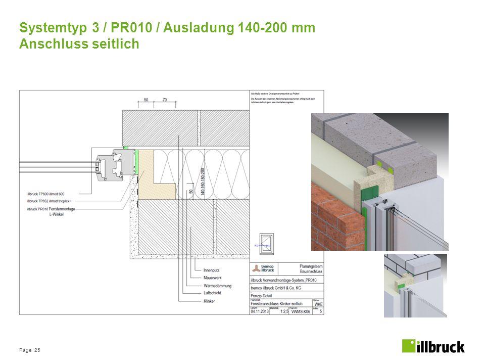 Page 25 Systemtyp 3 / PR010 / Ausladung 140-200 mm Anschluss seitlich